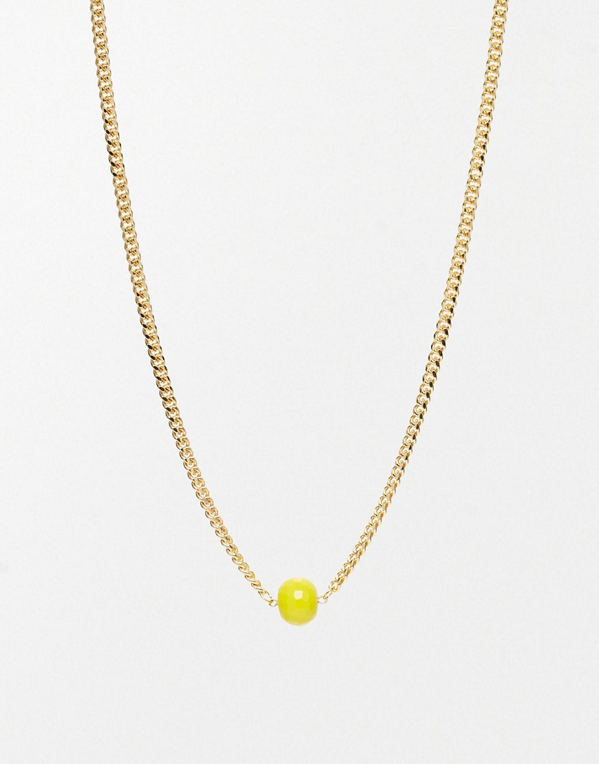 Adele Marie Yellow Bead And Gold Necklace - Gold