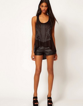 Image 4 ofASOS PETITE Exclusive Studded Dip Back Vest With Lattice Back