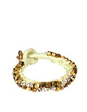 Jamie Jewellery Cotton Nugget and Diamante Studded Bracelet