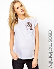 ASOS Maternity - T-shirt con tasca con gattino