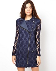 ASOS Biker Dress In Lace