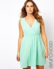 ASOS CURVE Exclusive Skater Dress In Cheesecloth