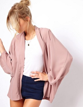 ASOS Jacket in Kimono Style at ASOS :  kimono jacket pink cardigan