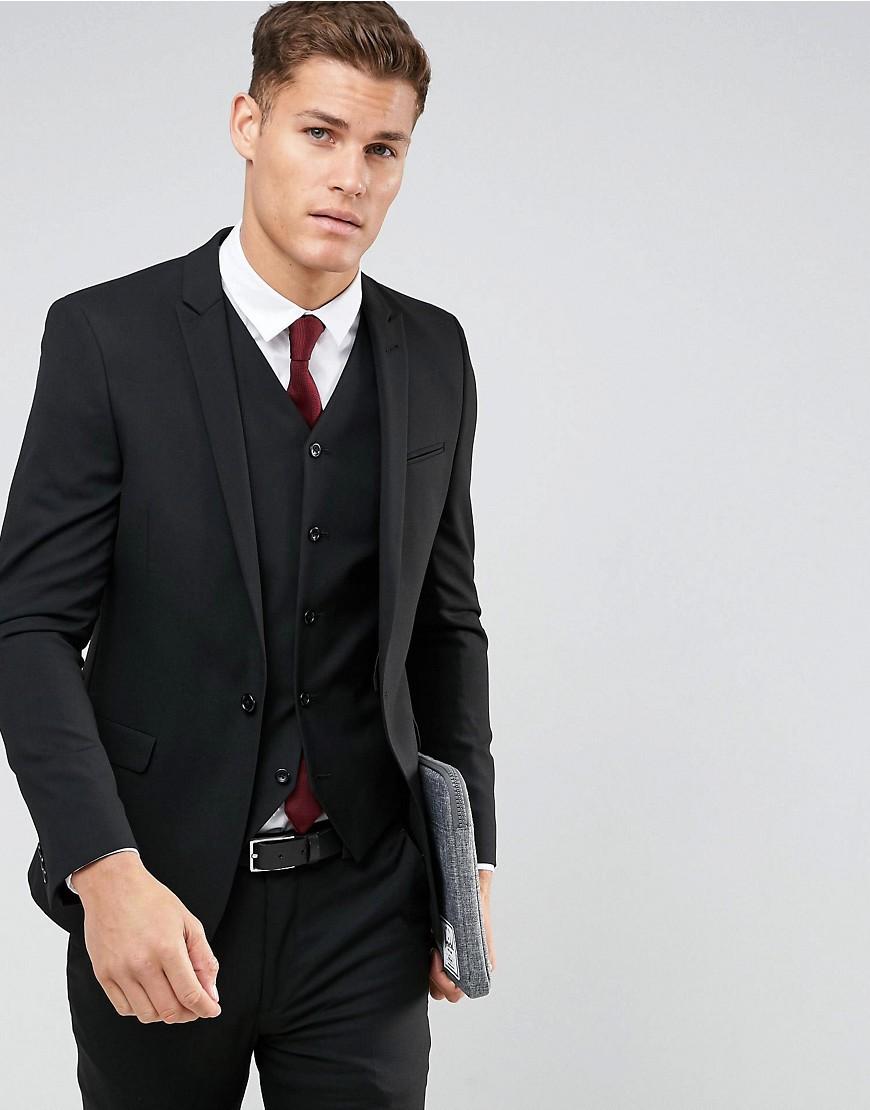 Chaqueta de traje ajustada en negro de ASOS