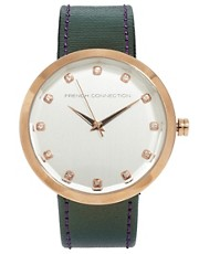 French Connection Leather Strap Watch with Rose Gold Case