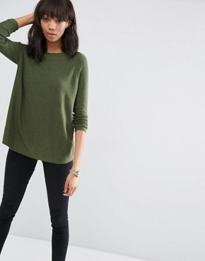 ASOS Swing Jumper with Ripple Stitch Sleeve in Cashmere Mix