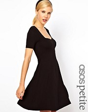 ASOS PETITE Skater Dress With Sweetheart Neck And Short Sleeves
