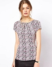 A Wear Peplum Top In Geo Dot Print