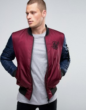 SikSilk Bomber Jacket With Contrast Sleeves