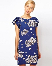 ASOS Shift Dress With Frill Shoulder In Floral Print