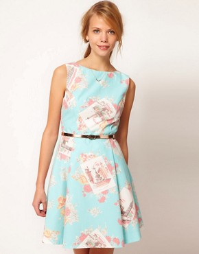 Image 1 ofOasis Dress In Floral Postcard Print