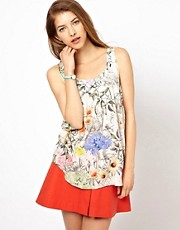 Paul by Paul Smith Woven Cami in Collage Floral Print