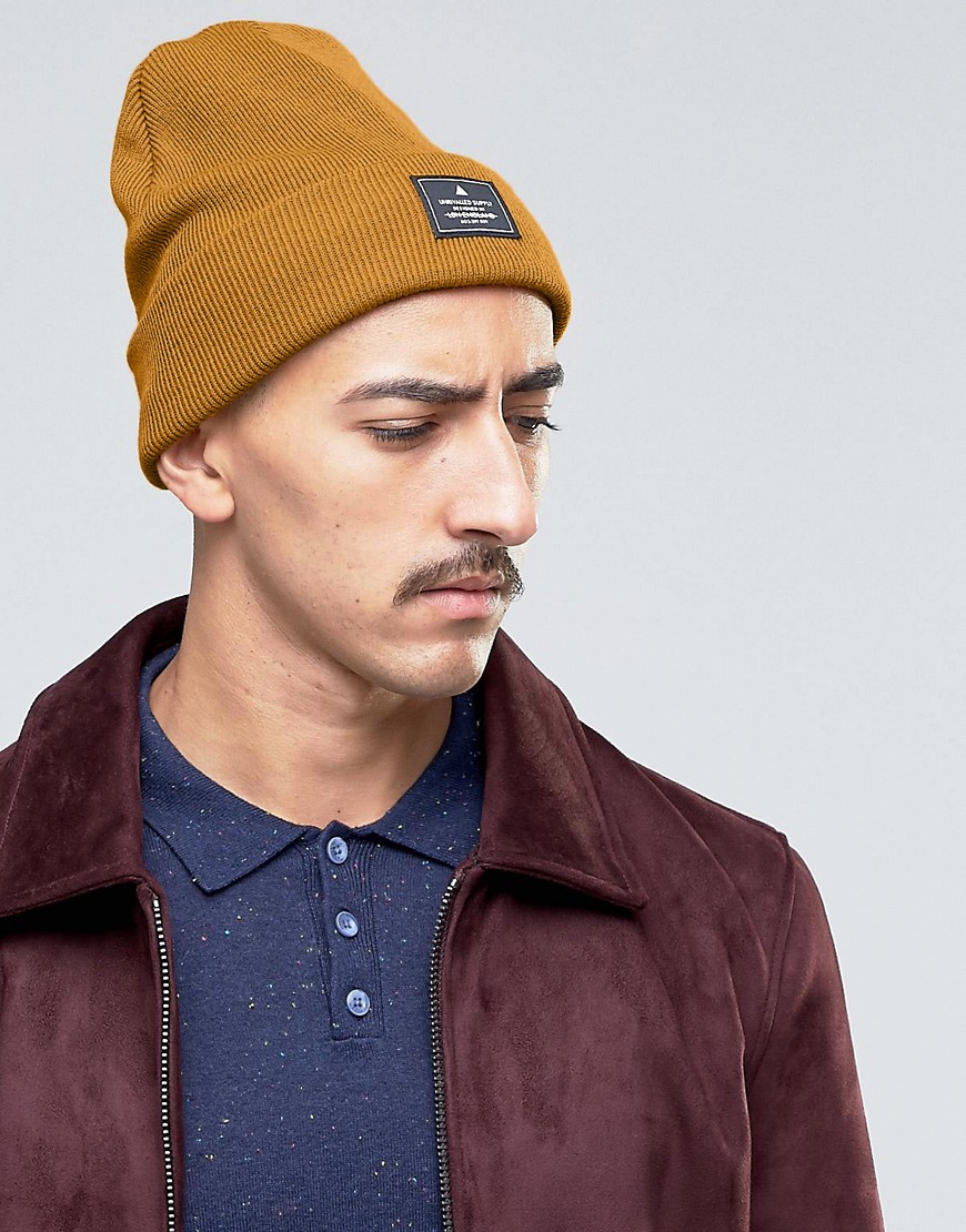 ASOS Patch Beanie In Mustard - Yellow