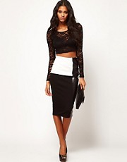 ASOS Pencil Skirt in Monochrome with PU Panel