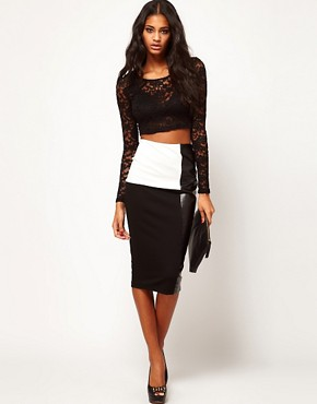 Image 1 ofASOS Pencil Skirt in Monochrome with PU Panel
