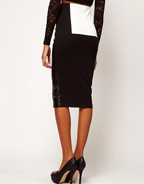 Image 2 ofASOS Pencil Skirt in Monochrome with PU Panel