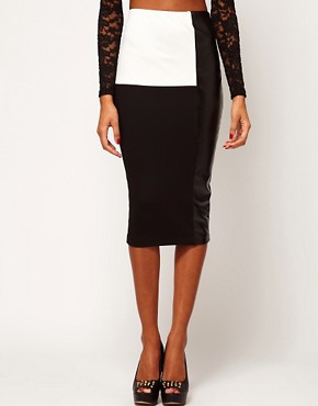Image 4 ofASOS Pencil Skirt in Monochrome with PU Panel