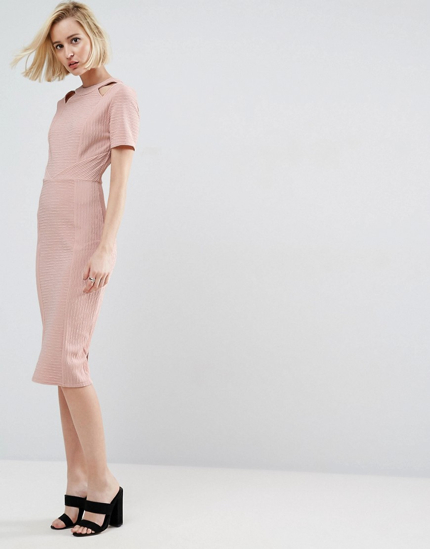 ASOS Textured Structured Dress with Cut Outs