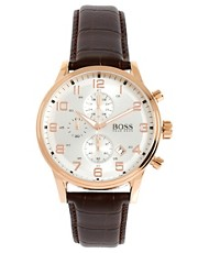 Boss By Hugo Boss  Chronograph mit braunem Lederband