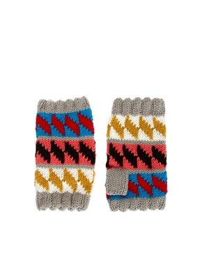 Image 1 ofMiss Pom Pom Exclusive To ASOS Diamond Fingerless Gloves