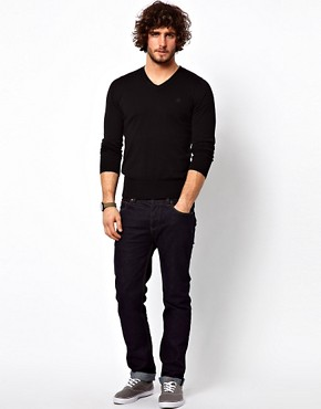 Image 4 ofG Star Jumper Amos Cotton Knit V-Neck