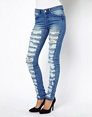 ASOS Skinny Jeans in Vintage Wash with Extreme Slashing