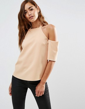 ASOS Crepe Cold Shoulder with High Neck Detail