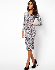 ASOS Midi Bodycon in Monochrome Empire Print