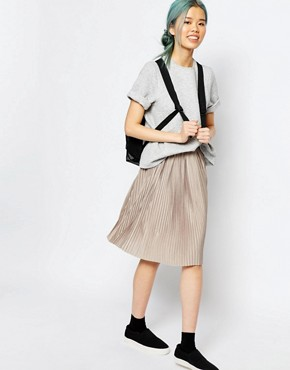 Monki Pleated Midi Skirt