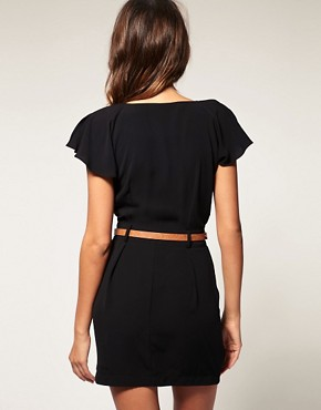 Image 2 ofASOS PETITE Mini Tulip Dress With Flute Sleeves