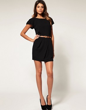 Image 4 ofASOS PETITE Mini Tulip Dress With Flute Sleeves