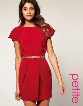 Image 1 ofASOS PETITE Mini Tulip Dress With Flute Sleeves