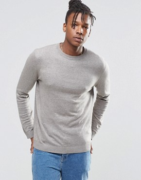 ASOS Crew Neck Jumper In Grey Cotton