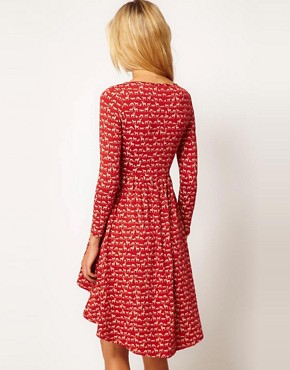 Image 2 ofASOS PETITE Exclusive Dress With Hi Lo Hem In Woodlands Print
