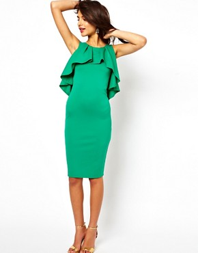 Image 4 ofASOS Midi Pencil Dress With Ruffles