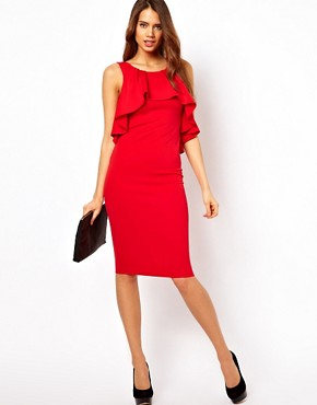 Image 1 ofASOS Midi Pencil Dress With Ruffles