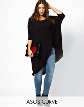 Image 1 ofASOS CURVE Jersey Top With Dip Back