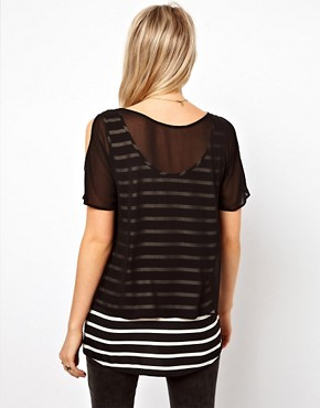 Image 2 ofOasis Double Layer Stripe Top