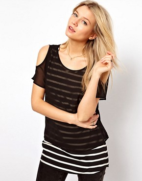 Image 1 ofOasis Double Layer Stripe Top