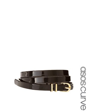 Image 1 ofASOS CURVE Metal Keeper Patent Super Skinny Waist Belt