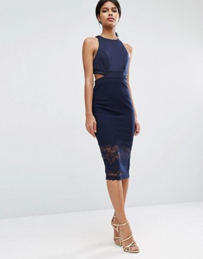 ASOS Scuba Cutout Back Lace Pencil Midi Dress