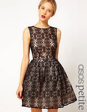 ASOS PETITE Exclusive Lace Dress With Cut Out Back