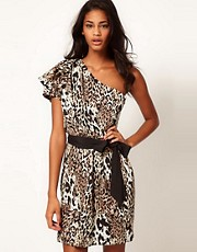ASOS One Shoulder Dress in Animal