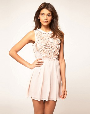 Image 1 ofASOS Mini Dress with Rose Applique