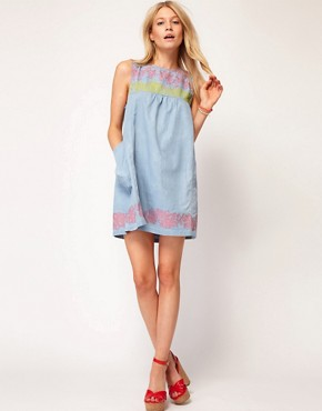 Image 4 ofASOS Swing Dress with Floral Trim Detail