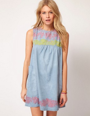 Image 1 ofASOS Swing Dress with Floral Trim Detail