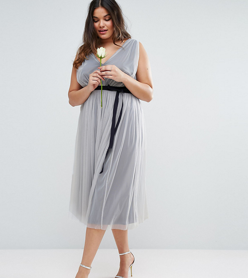 ASOS CURVE WEDDING Mesh Midi Dress with Ribbon Strapping Detail