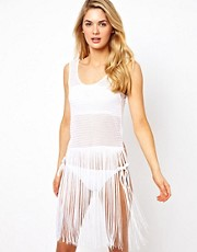 ASOS Crochet Fringed Beach Vest Dress