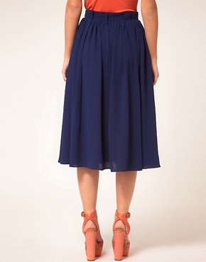 Image 2 ofASOS Simple Full Skirt With Paperbag Waist