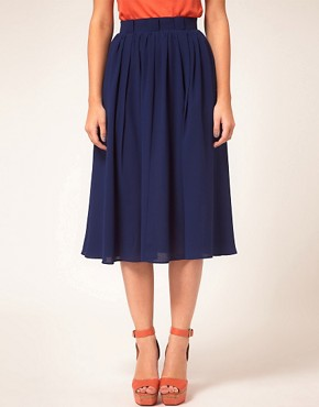Image 4 ofASOS Simple Full Skirt With Paperbag Waist